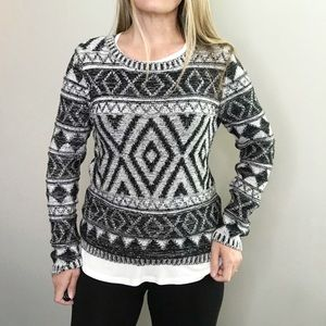 LUCKY BRAND black and white pullover sweater sz M